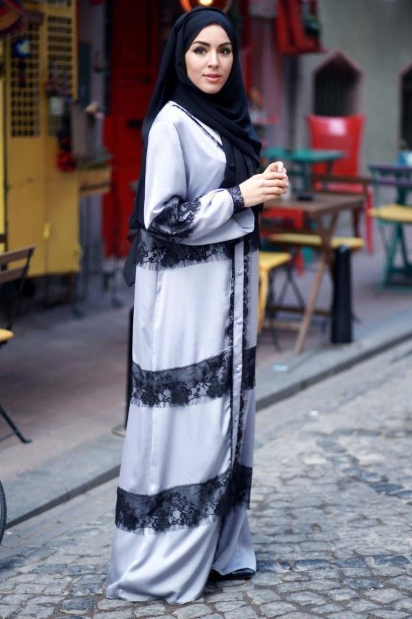 Elif Nur Dantelli Abaya Ferace 8995-02