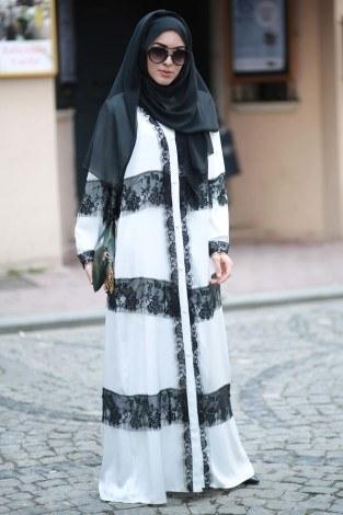 Elif Nur Dantelli Abaya Ferace 8995-03 Beyaz - Thumbnail