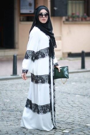 - Elif Nur Dantelli Abaya Ferace 8995-03 Beyaz