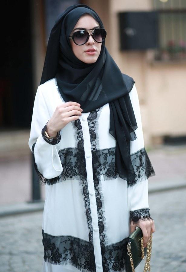 Elif Nur Dantelli Abaya Ferace 8995-03 Beyaz