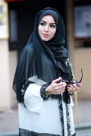 - Elif Nur Dantelli Abaya Ferace 8995-03 Beyaz (1)