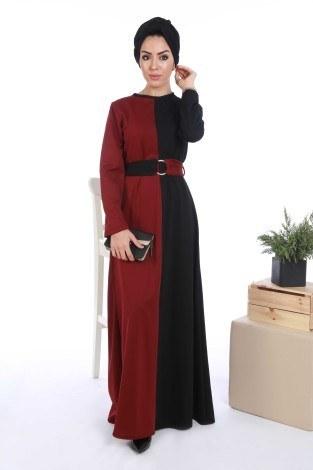 - İki Renk Tesettür Elbise 65122-01