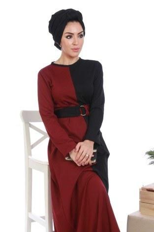 - İki Renk Tesettür Elbise 65122-01 (1)