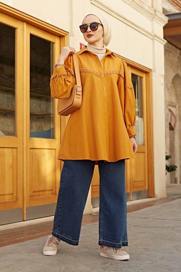 Dantelli Poplin Gömlek 100MD10242 Hardal