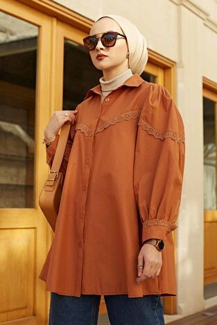 Dantelli Poplin Gömlek 100MD10242 Taba - Thumbnail