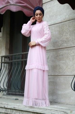 Dantelli Şifon Abiye Elbise 62781-03 - Thumbnail