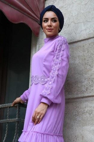 Dantelli Şifon Abiye Elbise 62781-05 - Thumbnail