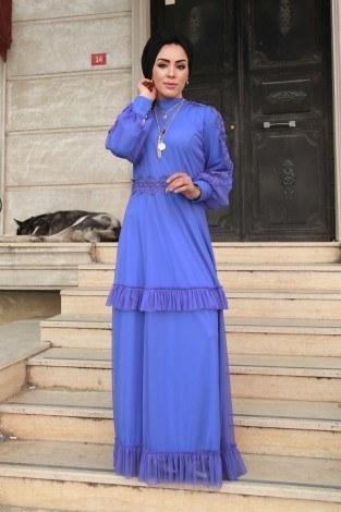 Dantelli Şifon Abiye Elbise 62781-06 - Thumbnail