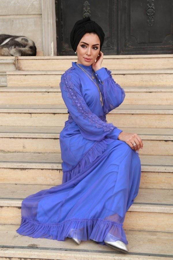 Dantelli Şifon Abiye Elbise 62781-06