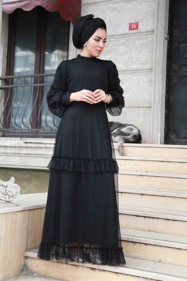 - Dantelli Şifon Abiye Elbise 62781-01