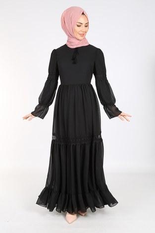 - Dantelli Şifon Elbise 06055-1 Siyah