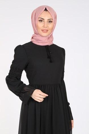 - Dantelli Şifon Elbise 06055-1 Siyah (1)