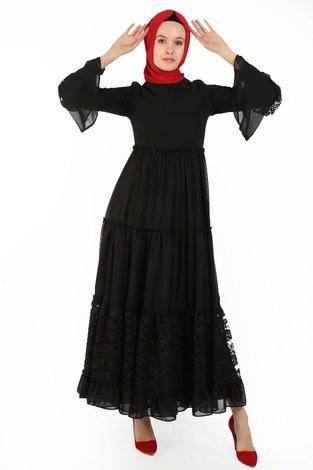 Dantelli Şifon Elbise 6054-01 - Thumbnail