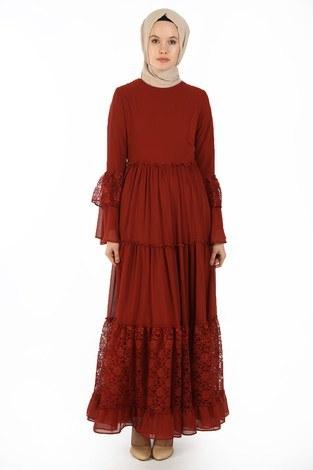 Dantelli Şifon Elbise 6054-15 - Thumbnail
