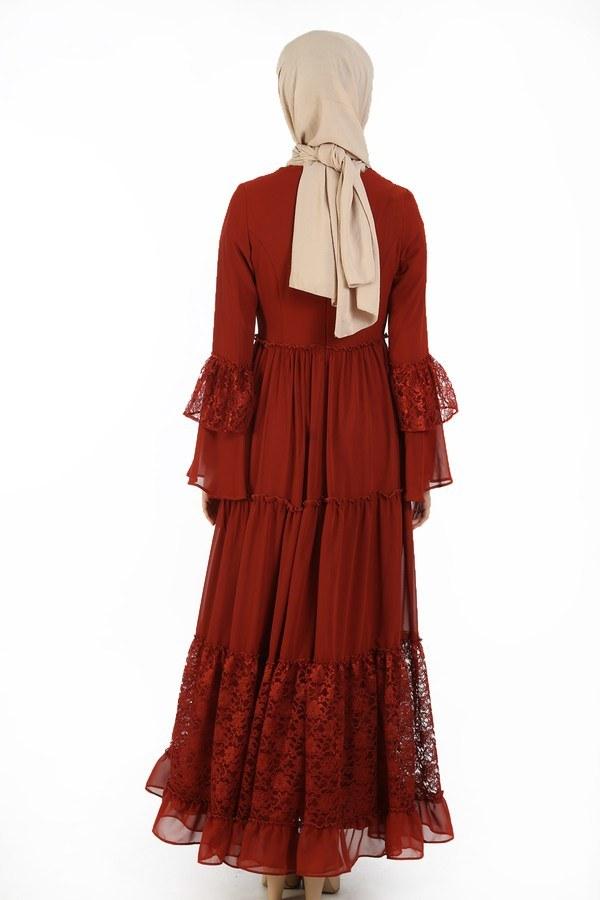 Dantelli Şifon Elbise 6054-15