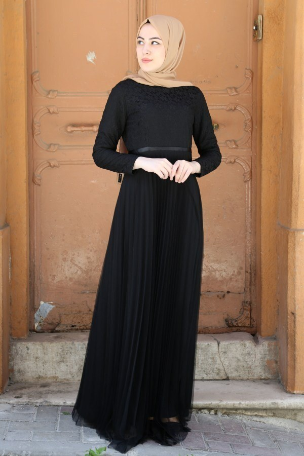 Dantelli Tül Detaylı Abiye Elbise 53690-2