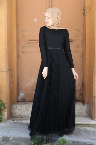 Dantelli Tül Detaylı Abiye Elbise 53690-2 - Thumbnail