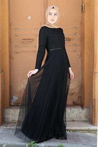 - Dantelli Tül Detaylı Abiye Elbise 53690-2