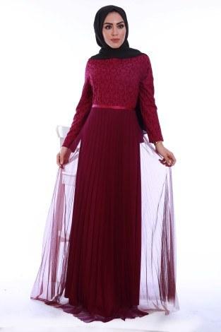 - Dantelli Tül Detaylı Abiye Elbise 53690-4
