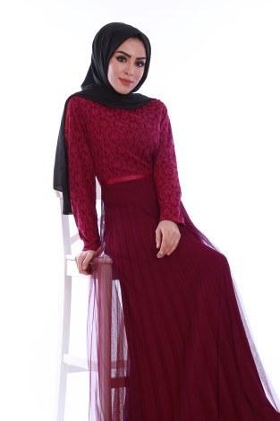 Dantelli Tül Detaylı Abiye Elbise 53690-4 (1)