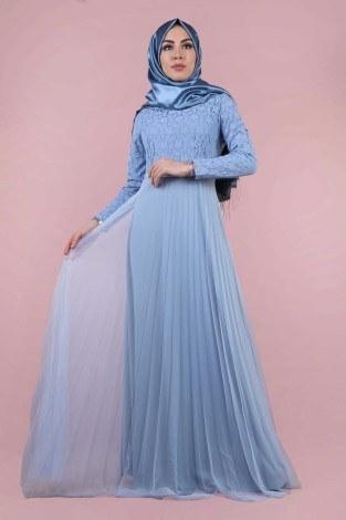- Dantelli Tül Detaylı Abiye Elbise 53690-5