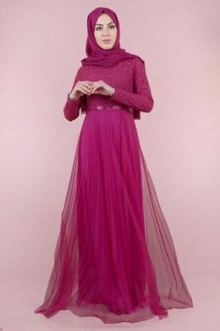 - Dantelli Tül Detaylı Abiye Elbise 53690-6