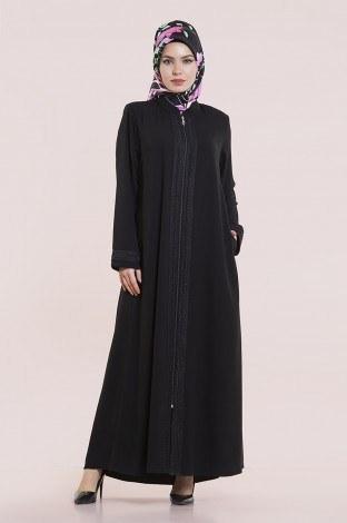 - Dantelli ve İnci Detaylı Ferace modahayme-8220-2-siyah