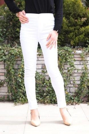 - Dar Paça Pantalon 8503-6 Beyaz