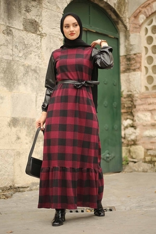 - Deri Detaylı Elbise 2260-1 Bordo