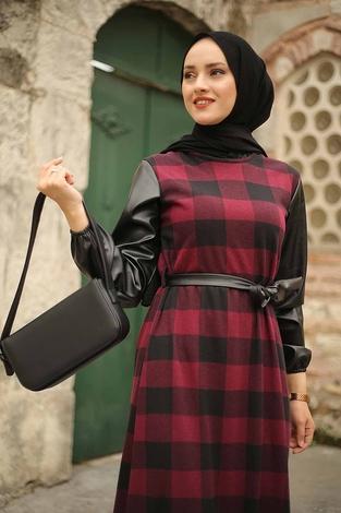 - Deri Detaylı Elbise 2260-1 Bordo (1)