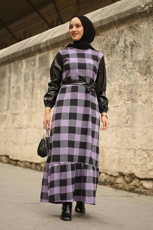 - Deri Detaylı Elbise 2260-2 Lila