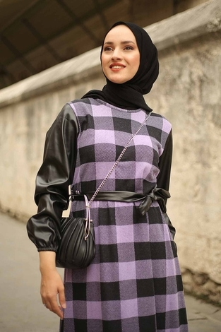 - Deri Detaylı Elbise 2260-2 Lila (1)
