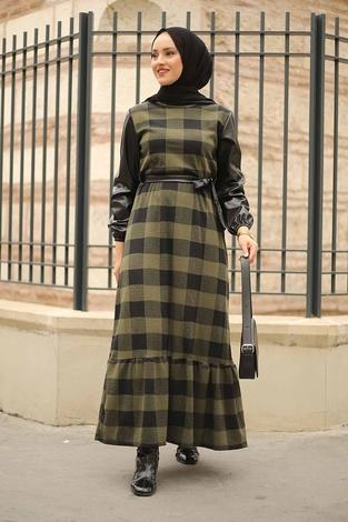 - Deri Detaylı Elbise 2260-3 Haki