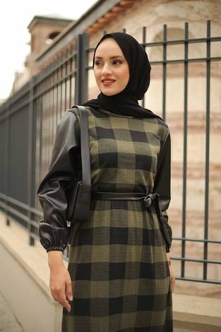 - Deri Detaylı Elbise 2260-3 Haki (1)