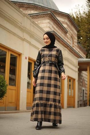 - Deri Detaylı Elbise 2260-4 Bej (1)