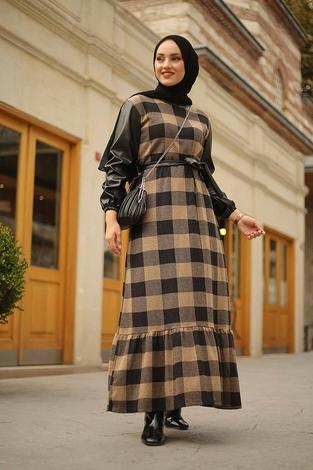 - Deri Detaylı Elbise 2260-4 Bej