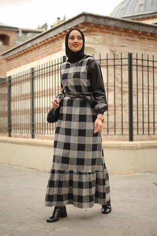 - Deri Detaylı Elbise 2260-5 Gri (1)