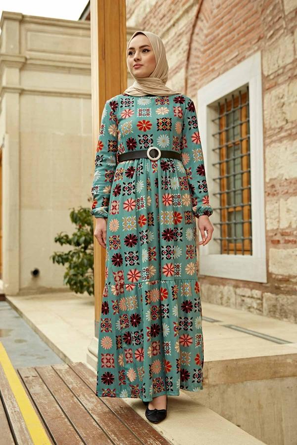Deri Kemerli Desenli Elbise 120NY8765 Mint