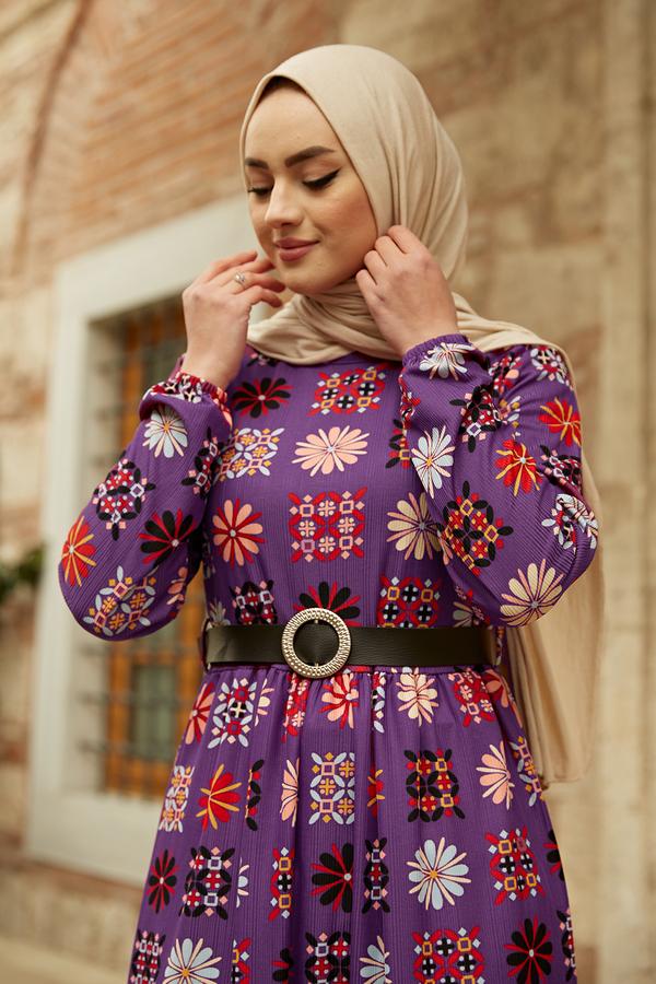 Deri Kemerli Desenli Elbise 120NY8765 Mor