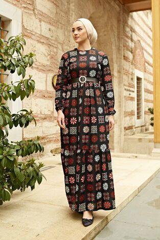 Deri Kemerli Desenli Elbise 120NY8765 Siyah - Thumbnail