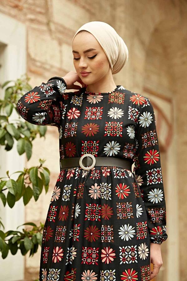 Deri Kemerli Desenli Elbise 120NY8765 Siyah
