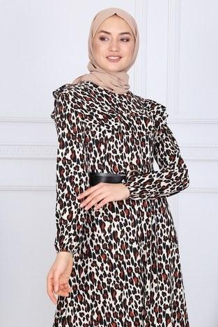 - Deri Kemerli Desenli Elbise 2145-1 (1)