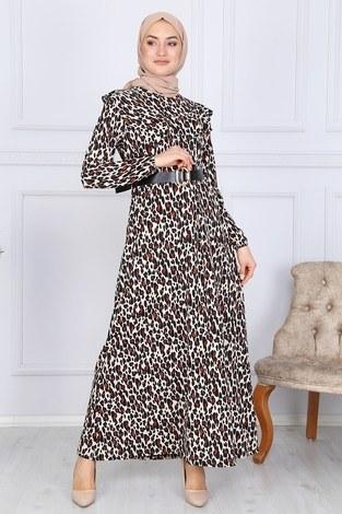 - Deri Kemerli Desenli Elbise 2145-1