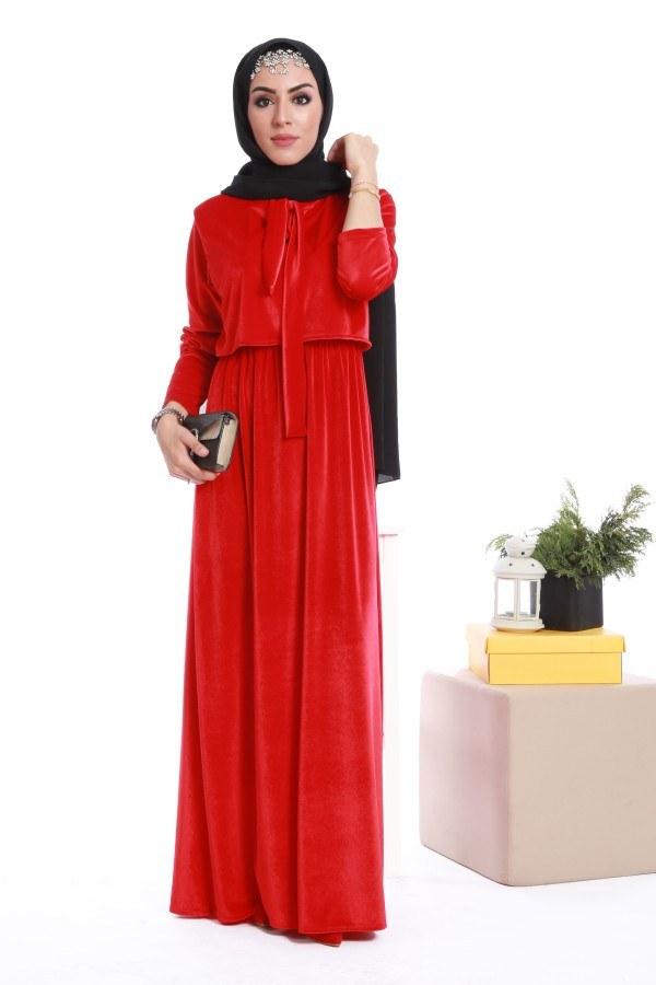 - Kadife fularlı elbise 7785-01