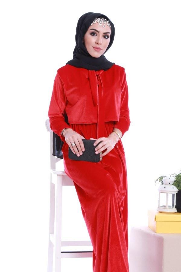 - Kadife fularlı elbise 7785-01 (1)
