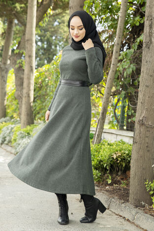 Deri Kuşaklı Spor Elbise haki 3769-2 Haki - Thumbnail