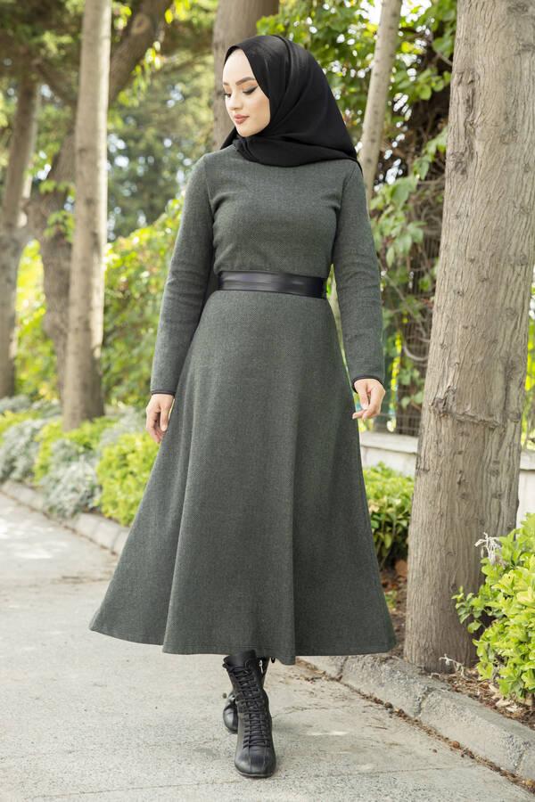 Deri Kuşaklı Spor Elbise haki 3769-2 Haki