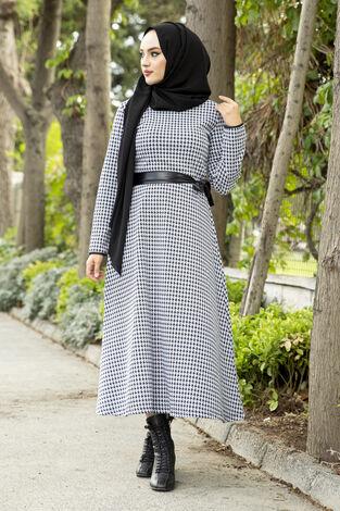 Deri Kuşaklı Spor Elbise kaz ayağı 3769-6 Kaz Ayağı - Thumbnail