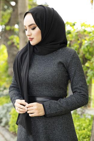 Deri Kuşaklı Spor Elbise siyah 3769-4 Siyah - Thumbnail