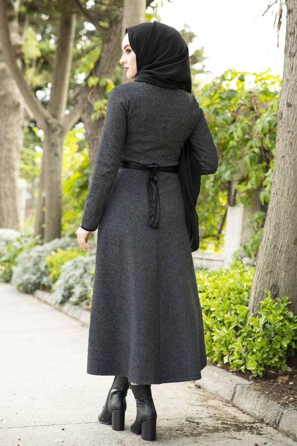 Deri Kuşaklı Spor Elbise siyah 3769-4 Siyah